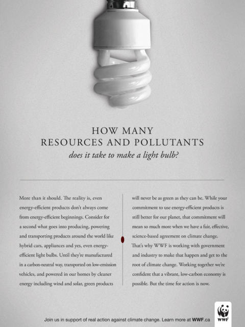 WWF Light Bulb magazine advertisement