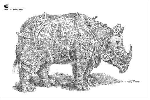 Rhino shaped urban landscape in WWF print advertisement
