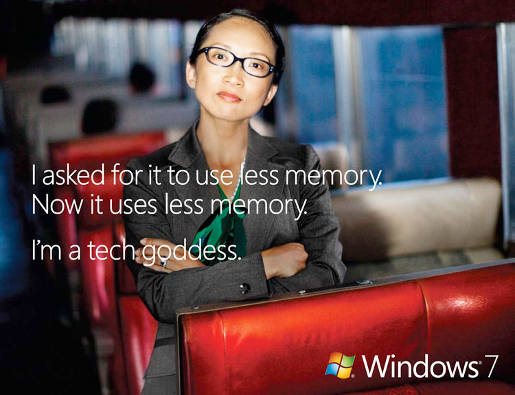 Windows 7 Tech Goddess print advertisement