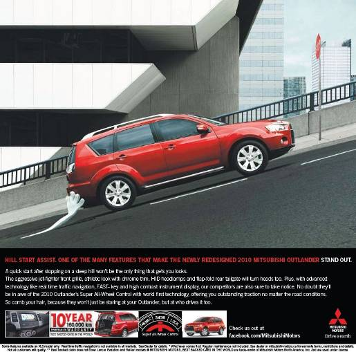 Mitsubishi Hill Start print advertisement