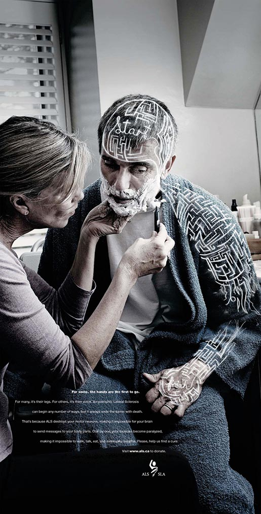 ALS Head and Shoulders ad features woman shaving man