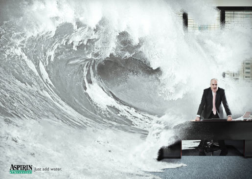 Aspirin Effervescent print advertisement with boss and wave