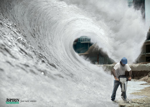 Aspirin Effervescent print advertisement with jackhammer and wave