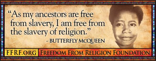 Butterfly McQueen in Freedom From Religion bus advertisement