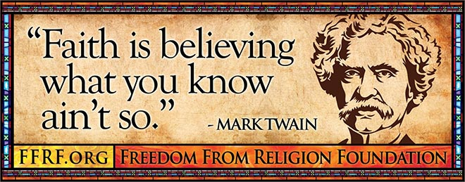 Mark Twain in Freedom From Religion bus advertisement