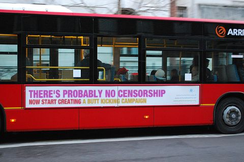Probably No Censorship Bus slogan