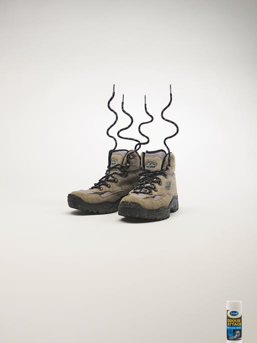 Eco Gear boots with laces on end in Scholl print advertisement