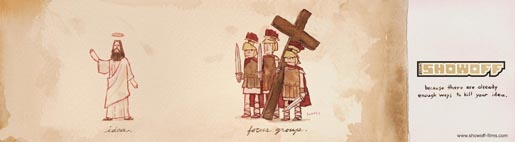 Showoff Jesus vs Roman guards print advertisement
