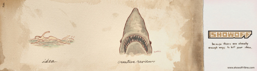 Showoff Films Jaws Shark print advertisement