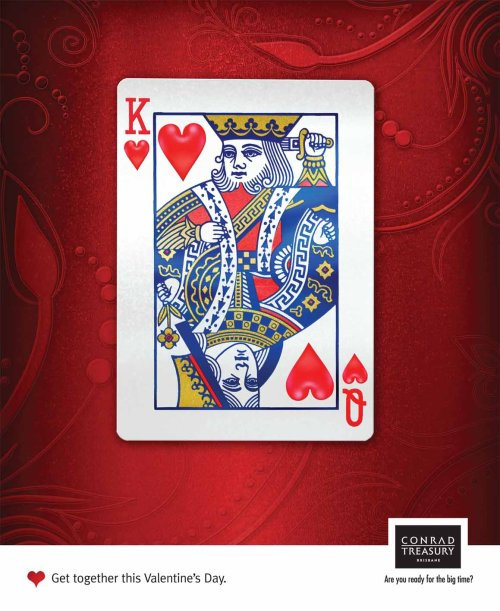 Treasury Brisbane Valentines Day card with King and Queen of Hearts