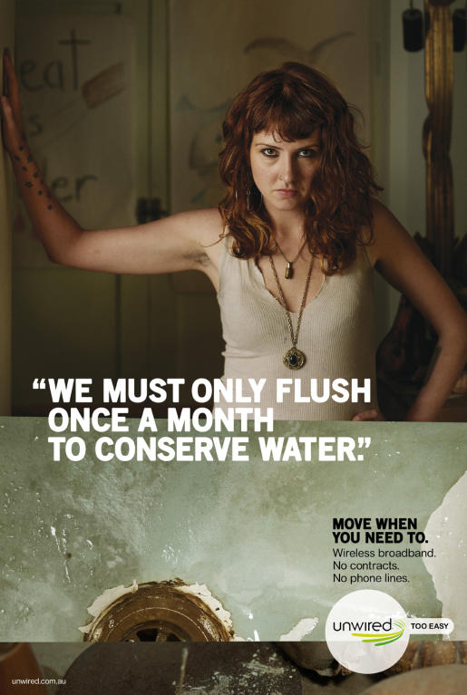 Unwired Flush print advertisement