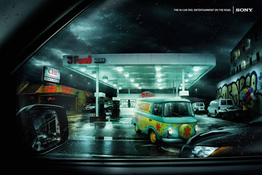Sony Mystery Machine print advertisement