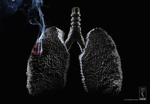 ADESF Smoking Lungs print advertisement