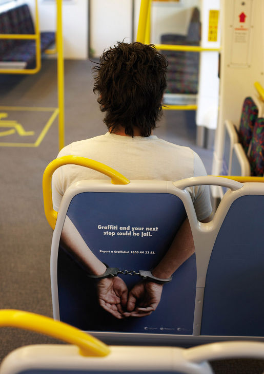 Transperth Handcuffs in anti grafitti advertising campaign