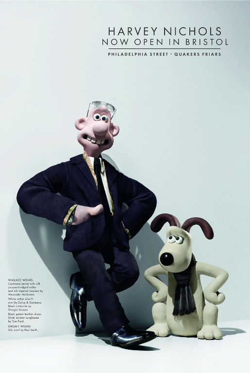 Wallace and Gromit in Harvey Nichols print advertisement