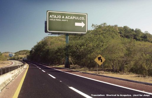 Jeep Exit Billboard points to Acapulco