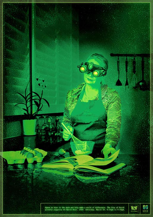 Boy with night vision goggles in Perth Earth Hour print advertising campaign