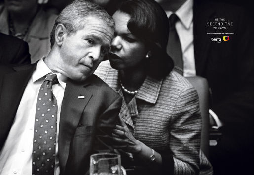 George W Bush and Condaleezza Rice in Terra print advertisement