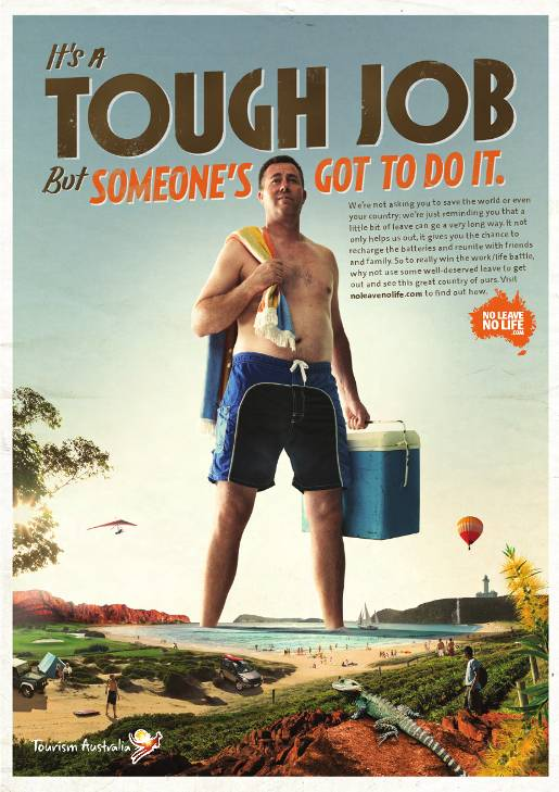 Tough Job to Win the Work/Life Battle in Tourism Australia campaign