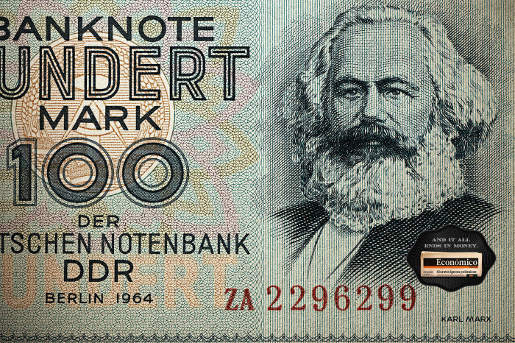 Karl Marx in Economico print advertisement