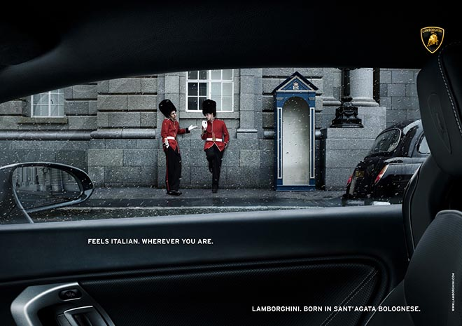 Lamborghini London guards print advertisement