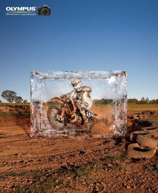 Olympus E620 SLR Motocross Rider in Ice Block