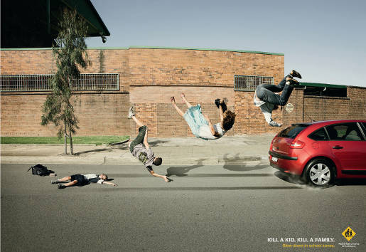 Pedestrian Council of Australia print advertisement - Ross Family