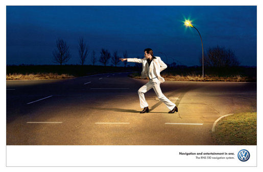 John Travolta in Volkswagen 510 Navigation print advertisement