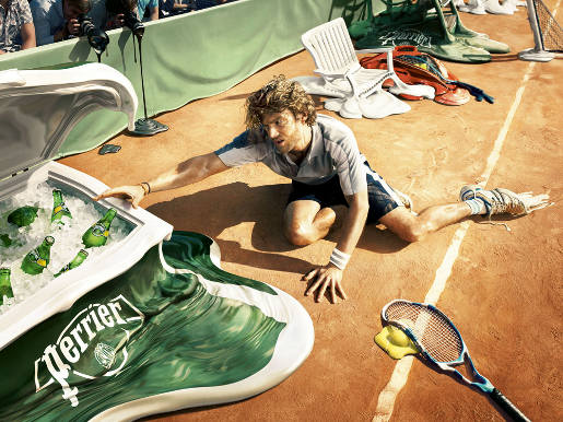 Perrier Tennis Melt print advertisement