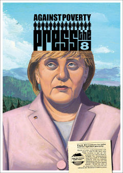 Angela Merkel in Press the 8 Postcard