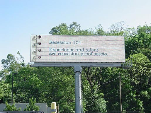 Recession 101 Experience and Talent billboard