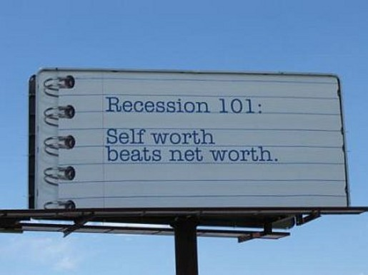 Recession 101 Self Worth billboard