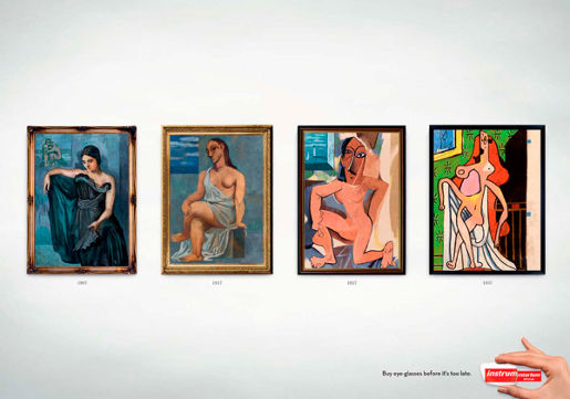 Instru print advertisement featuring Picasso art work