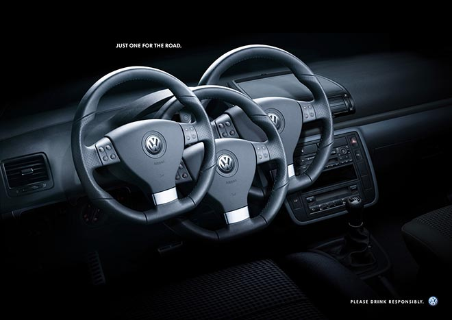 VW Steering Wheel Drink Drive print advertisement