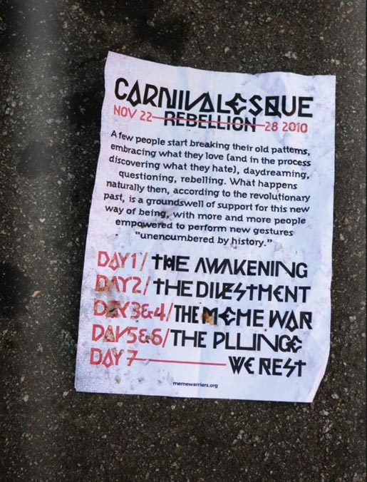 Adbusters Carnivalesque Rebellion Live Week