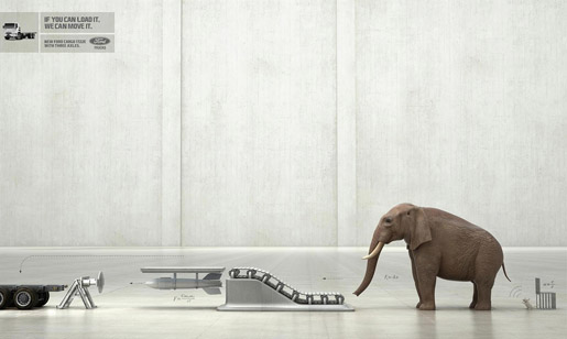 Ford Cargo Elephant print advertisement
