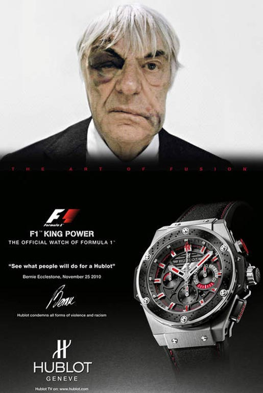 Bernie Ecclestone in Hublot print advertisement