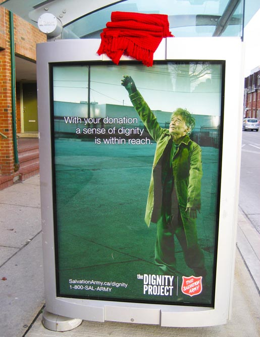 The Salvation Army blanket dignity billboard