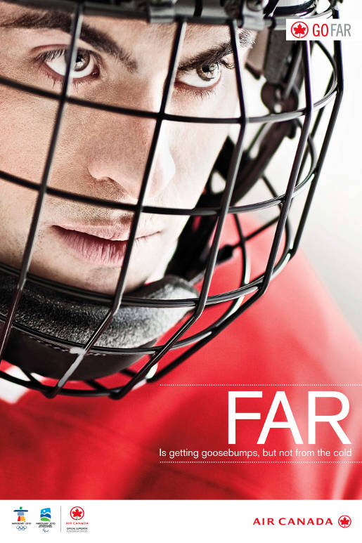 Air Canada Go Far Hockey print advertisement
