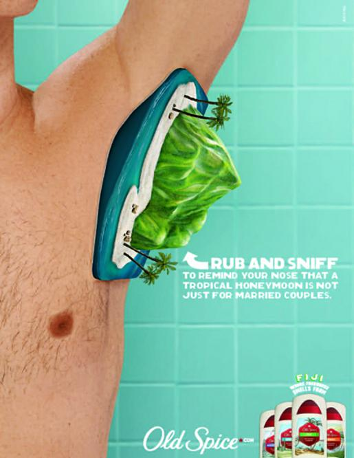 Old Spice Honeymoon Scratch n Sniff print ad