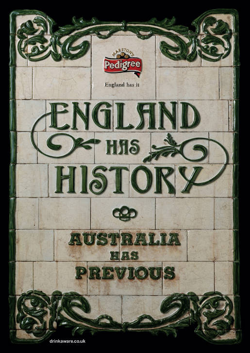 Marston Pedigree Ashes England has History