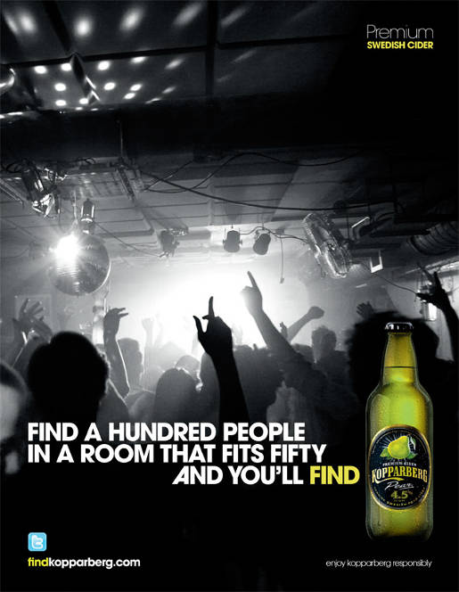 Kopparberg Find a hundred people print ad