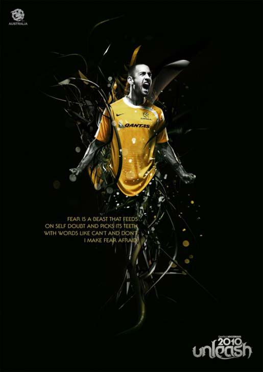 Socceroos Unleash print advertisement featuring Carl Valeri