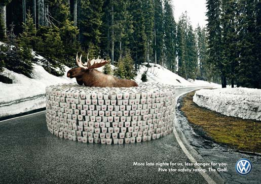 VW Golf Moose print ad