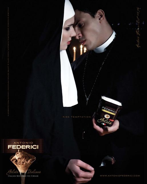 Priest and nun with ice cream in Antonio Federici Temptation ad