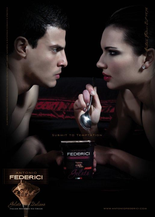 Couple with ice cream in Antonio Federici Temptation ad