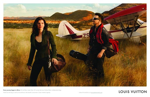 Bono and Ali Hewson in Edun/Louis Vuitton print advertisement