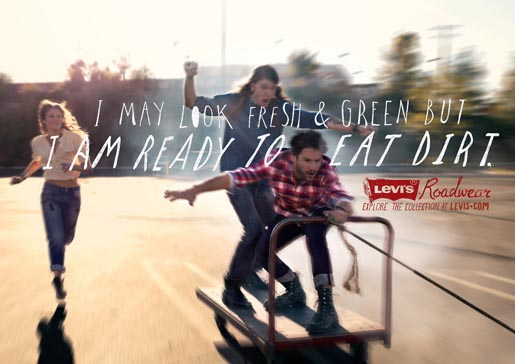 Levis Roadwear Cart Surf print ad