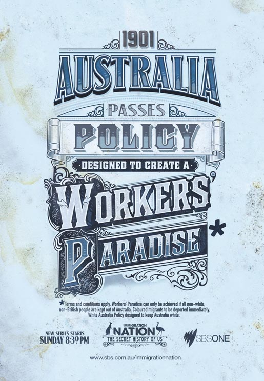SBS Immigration Nation Workers Paradise print advertisement