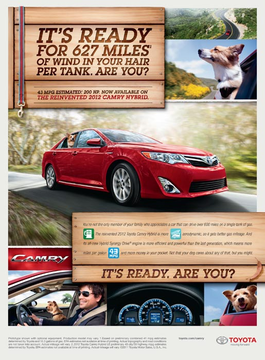 Toyota Camry MPG print ad